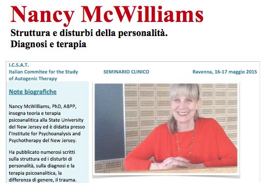 """16/17 maggio 2015: """"Nancy McWilliams Struttura e disturbi della personalità. Diagnosi e terapia"""""""