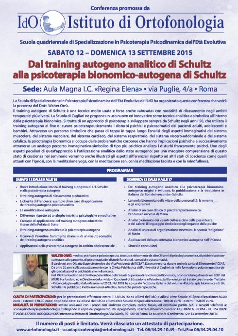 """12/13 settembre 2015, Roma: """"Dal training autogeno analitico di Schultz alla psicoterapia bionomico-autogena di Schultz"""""""