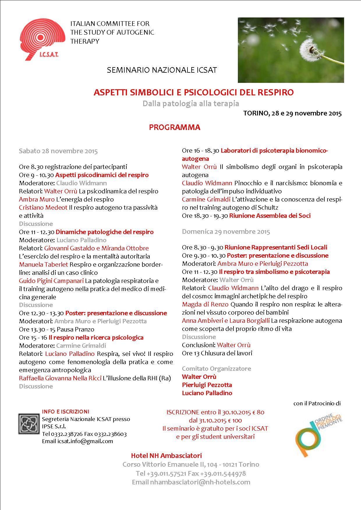 """28/29.11.15 Torino, """"Aspetti simbolici e psicologici del respiro"""""""