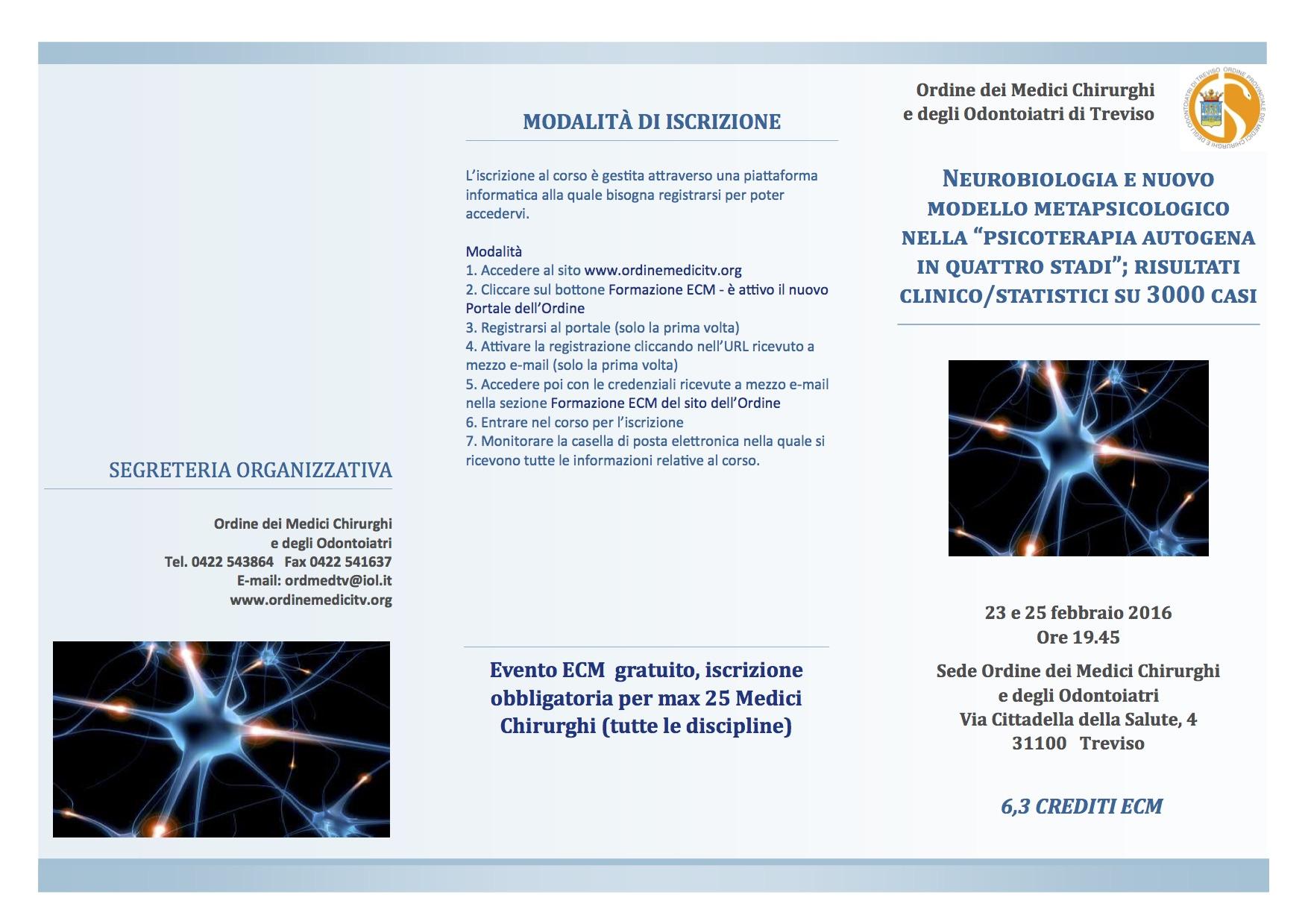 """23 e 25 febbraio: """"Neurobiologia e nuovo modello metapsicologico nella psicoterapia autogena in quattro stadi"""""""