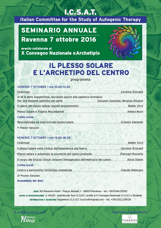 """Seminario annuale ICSAT 2016 """"Il plesso solare e l'archetipo del centro"""""""